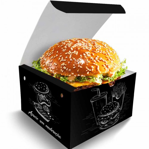 09- Embalagens Hamburguer Gourmet   12,4x12,4x10 cm   Duplex 250g   4x0 cores   Sem Verniz   3000 Unid.