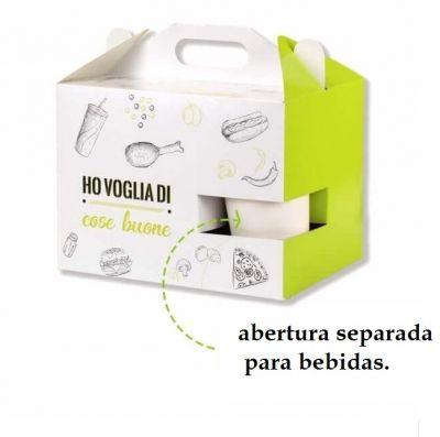 16- Caixa Maleta com Suporte separado para Bebida   Duplex 250g   4x0 cores   Sem Verniz   500 Unid.