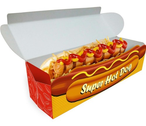34- Embalagens Hot Dog Delivery | 20x6,5x5,5 cm | Triplex 250g | 4x0 cores | Sem Verniz | 3.000 Unid.